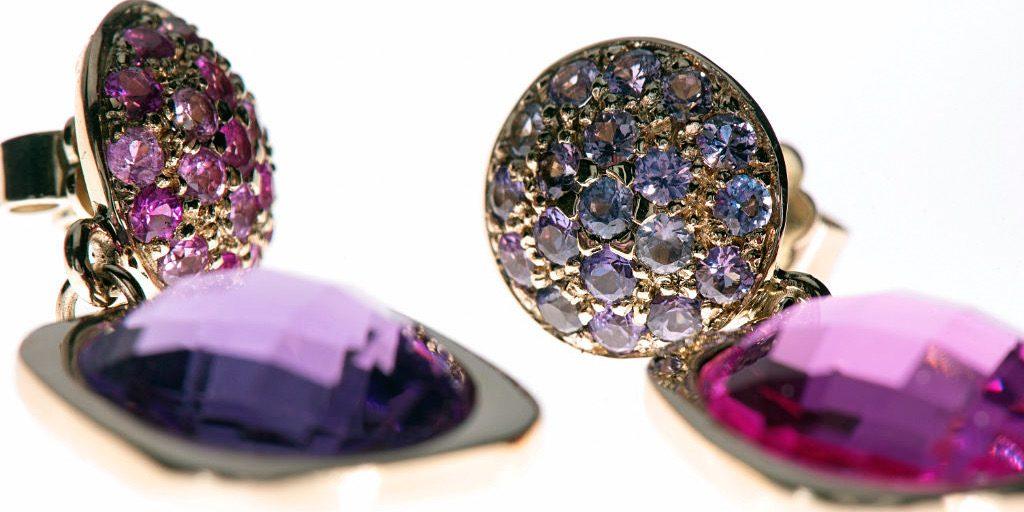 Unikat Ohrringe | Ohrringpaar Ruby Pinkday | Gold, Rubine und Saphire | Anina Caracas Düsseldorf